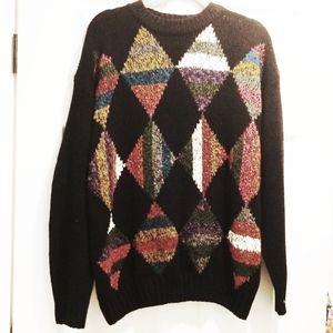 VINTAGE oversized sweater argyle diamonds